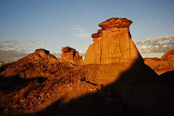 Hoodoos in evening light, Dinosaur Provincial Park, Alberta