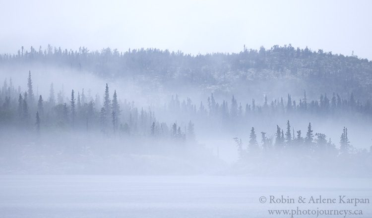 Fog on the north shore of Lake Athabasca, northern Saskatchewan.