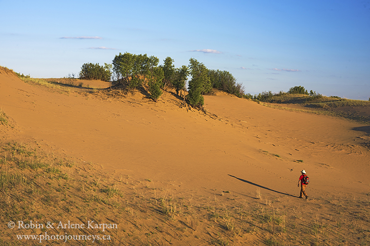 Hiking in the sand dunes of Douglas Provincial Park, SK