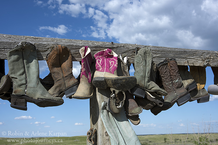 Boots on rack, Great Sand Hills, SK