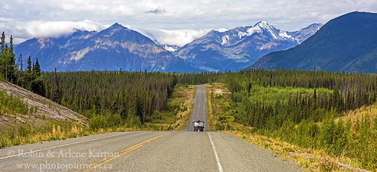 The Alaska Highway approaching Kluane National Park, Yukon