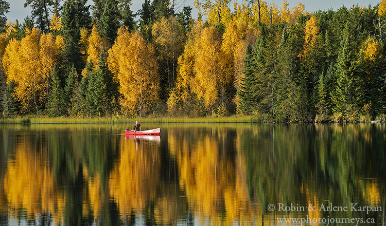 Canoeing on Baldy Lake, Narrow Hills Provincial Park, Saskatchewan