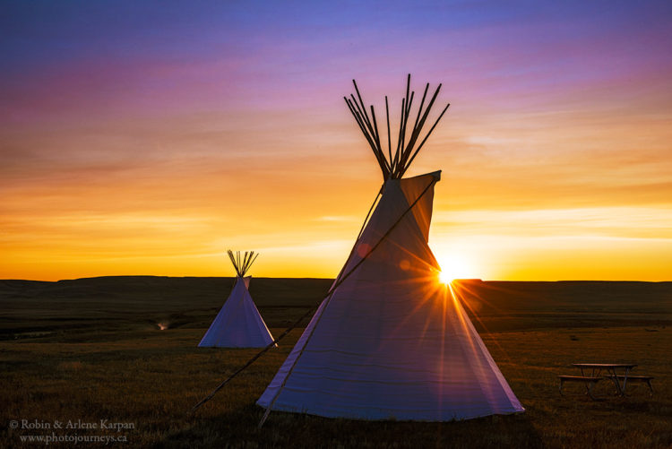 Tipi sunrise, Grasslands National Park, Saskatchewan