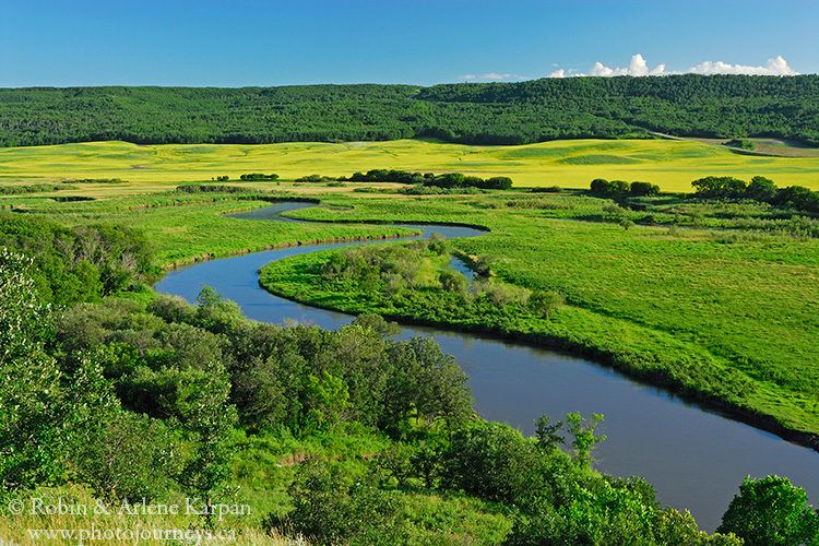 The meandering Qu'Appelle River, Saskatchewan