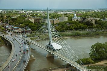 Esplanade Riel pedestrian bridge, Winnipeg, MB, Canada