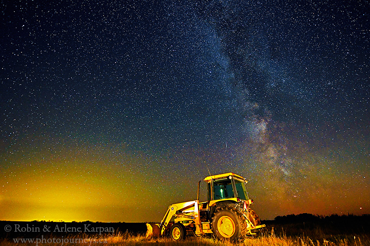 Tractor at night, Saskatchewan