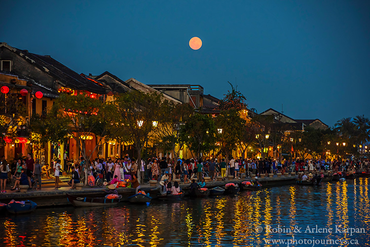 Hoi-An, Vietnam during full moon.