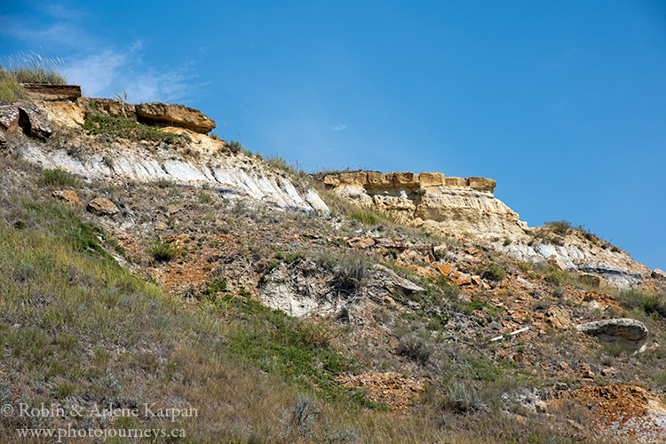 Sandstone formations near Souris River Valley at Roche Percee, Saskatchewan