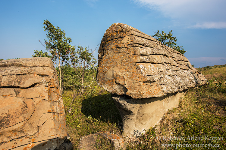 Sandstone formations near Souris River Valley at Roche Percee, Saskatchewan