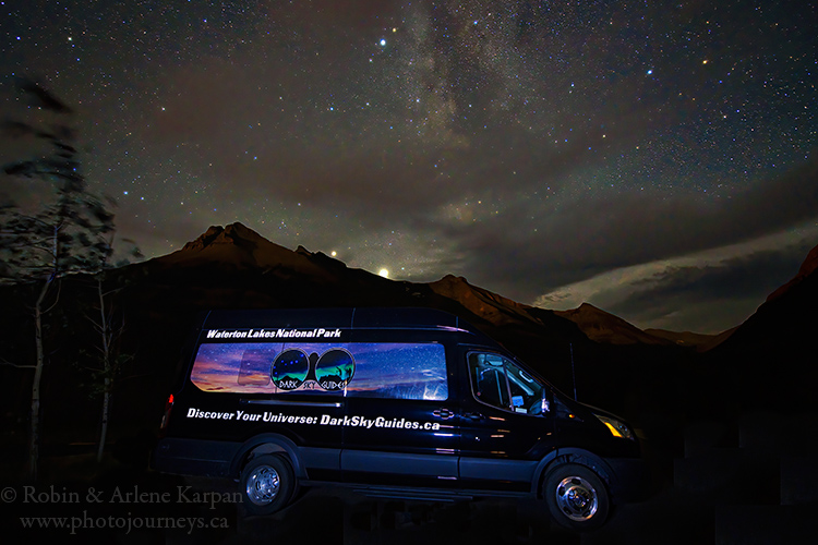 Waterton Lakes National Park, Dark Sky Guides van