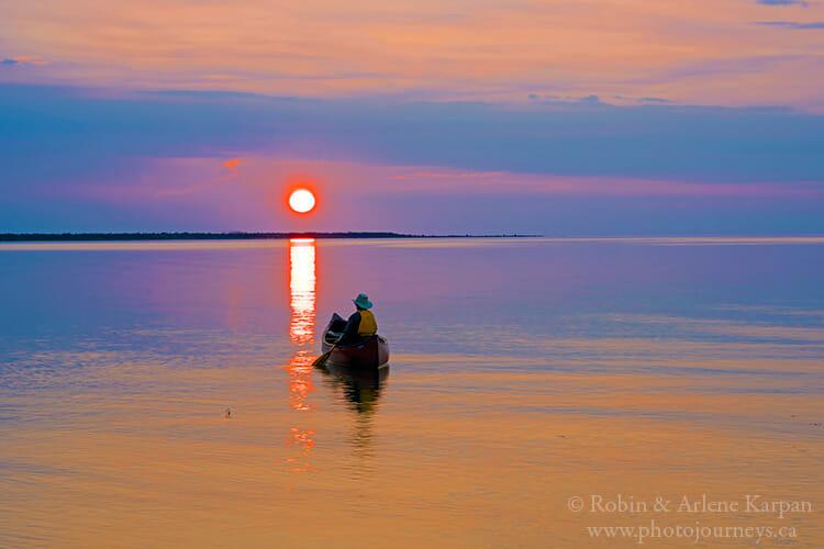 Paddling on Lake Athabasca, Athabasca Sand Dunes, Saskatchewan