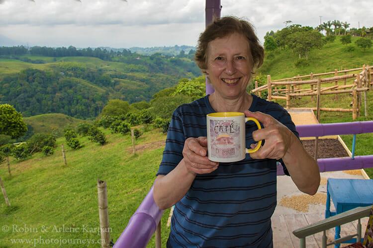 Enjoying fresh coffee, Filandia, Colombia