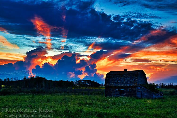 Sunset over barn, Saskatchewan