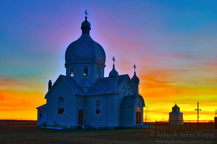 Sunset over church, Saskatchewan