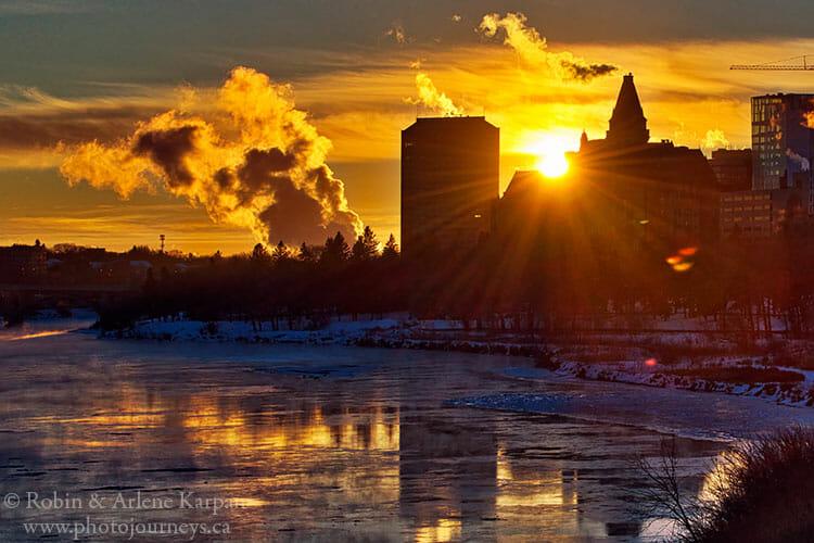 Downtown Saskatoon in winter at sunset