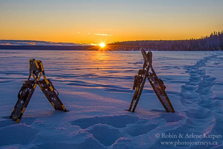 Snowshoes on Waskesiu Lake, Prince Albert National Park, Saskatchewan.