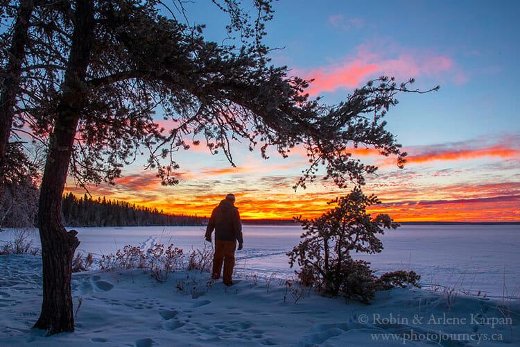 Sunrise, Waskesiu Lake, Saskatchewan, winter photography