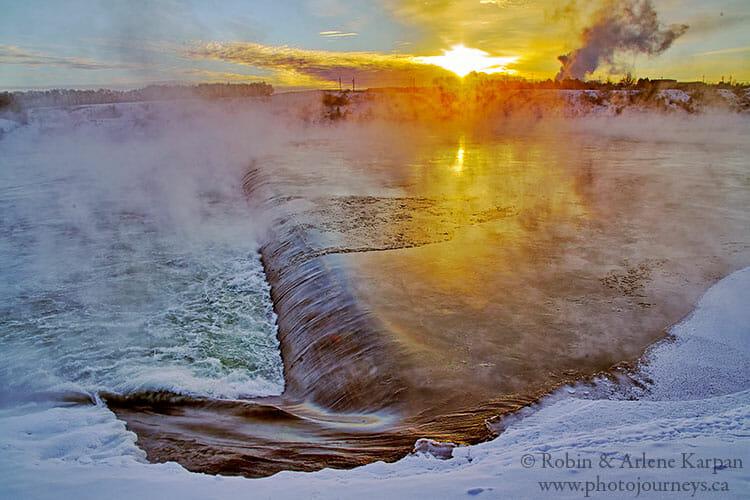 Weir, Saskatoon riverbank in winter
