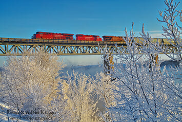 CP Rail Bridge, Saskatoon in winter