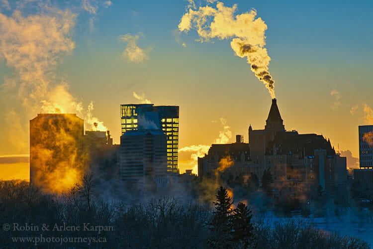 downtown Saskatoon in winter