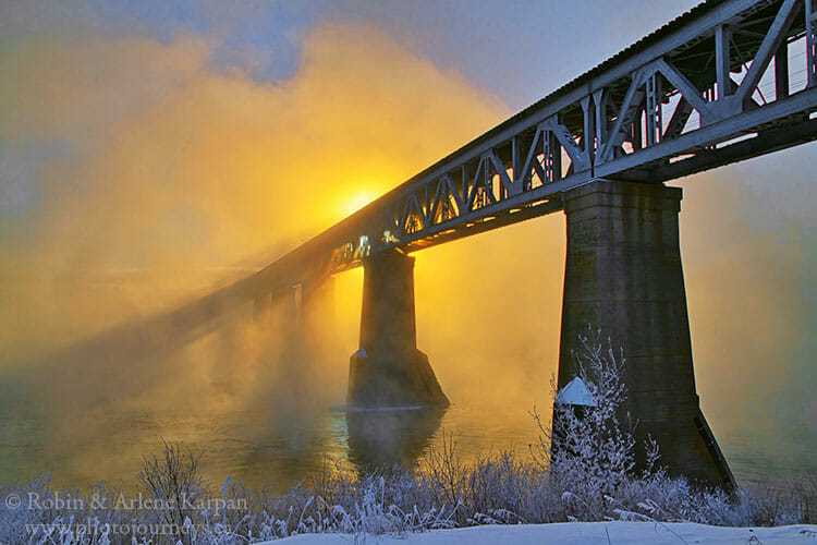 CP Rail Bridge, Saskatoon in winter