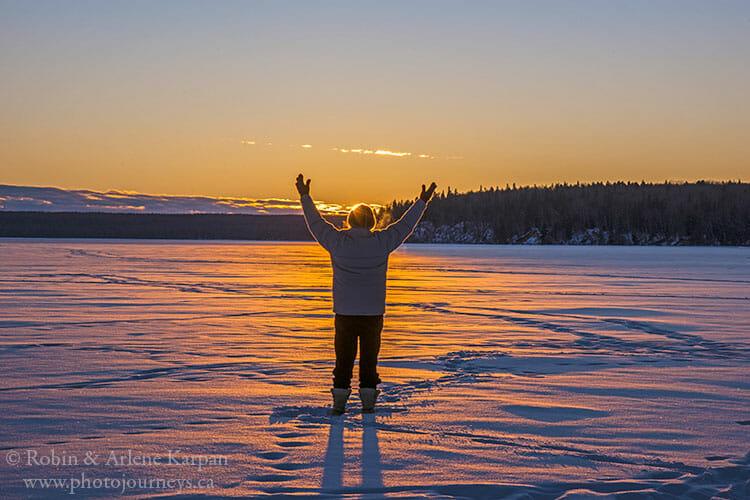 Waskesiu Lake sunset, Prince Albert National Park, Saskatchewan, winter
