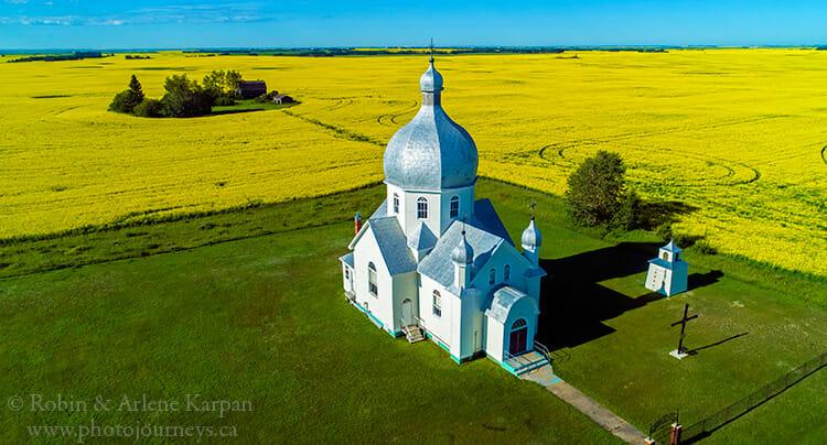 Smuts church, Saskatchewan, taken from drone