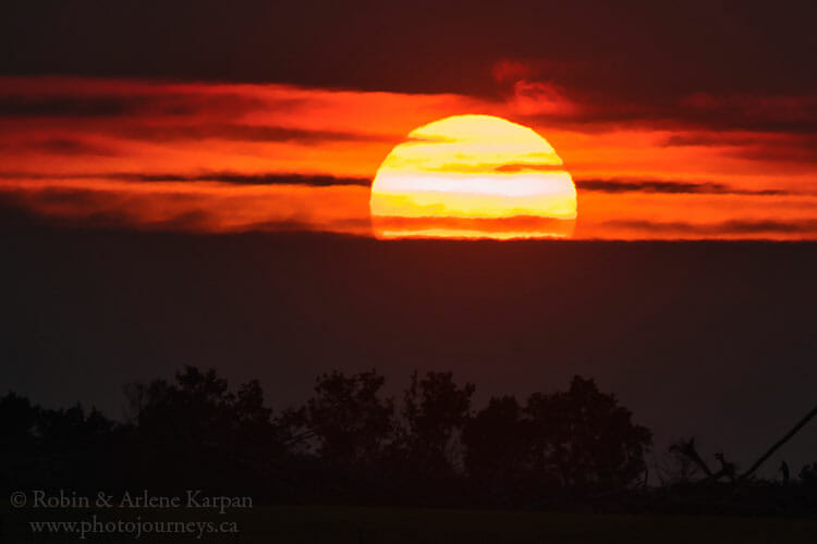 Sunset during smoky conditions