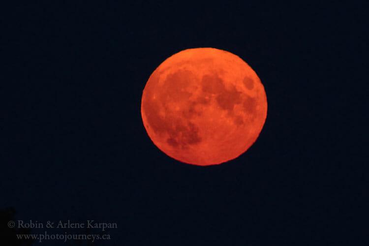 Full moon, smoke bank.