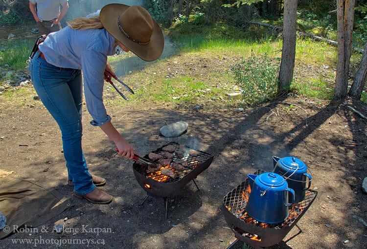 Lunch on backcountry horseback adventure in Banff