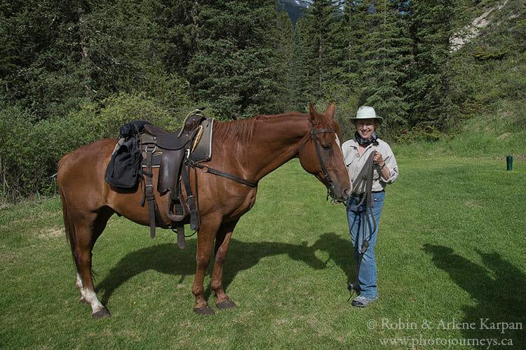 Arlene on Banff backcountry horseback adventure