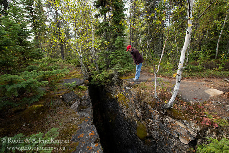 Limestone crevices, Amisk Lake